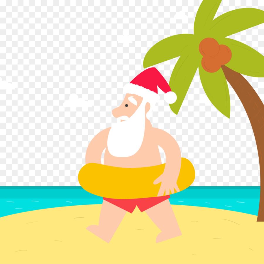 Santa Claus Christmas card Christmas and holiday season - Beach ...