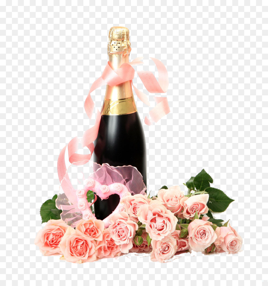 Champagne Flower bouquet Bottle Clip art - Red Wine png download ...