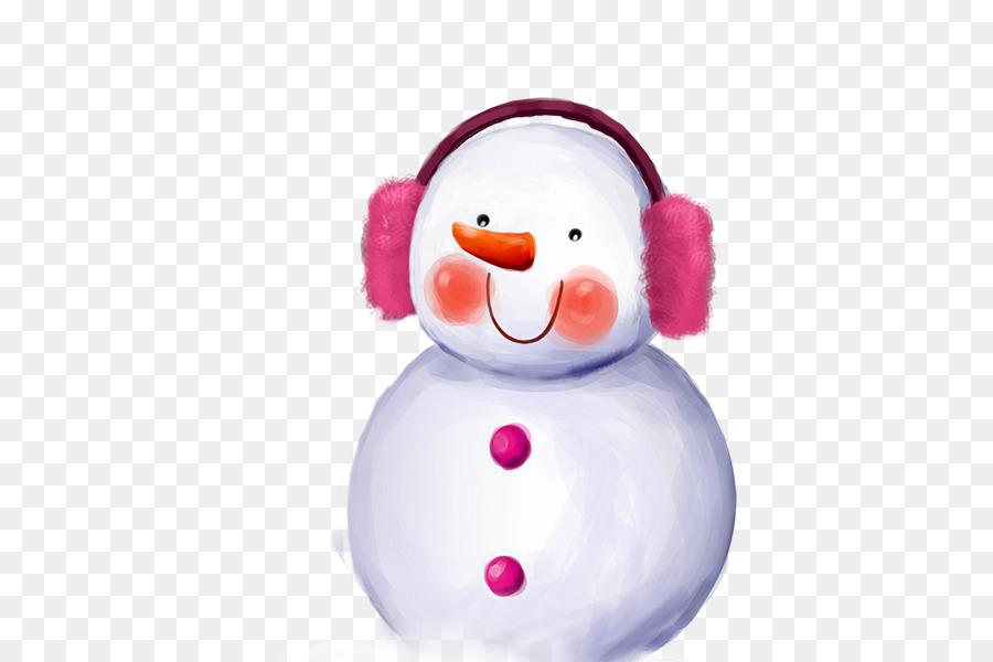Niedliche Snowman Tapete - Schnee-Szene Schneemann Kopfhörer tragen ...