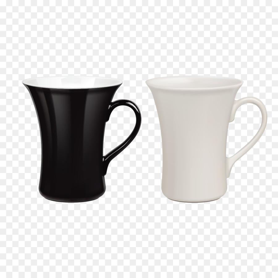 Taza de café de la Taza de café con Leche - En blanco y negro par de ...