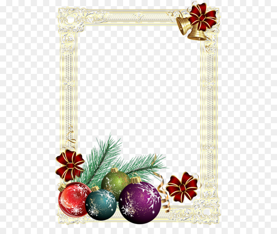Christmas tree New Year Christmas card - European gold frame png ...