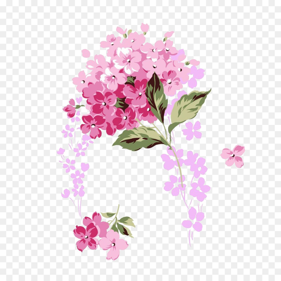 French Hydrangea Pink Flower Clip Art Pink Bouquet Png Download