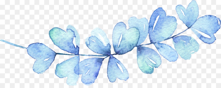 Blue Watercolor Painting Leaf Icon Blue Leaves 2843 1105