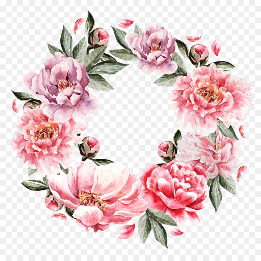 çiçek Buketi Boyama Pembe Gül Yüzük Png Indir 10241004