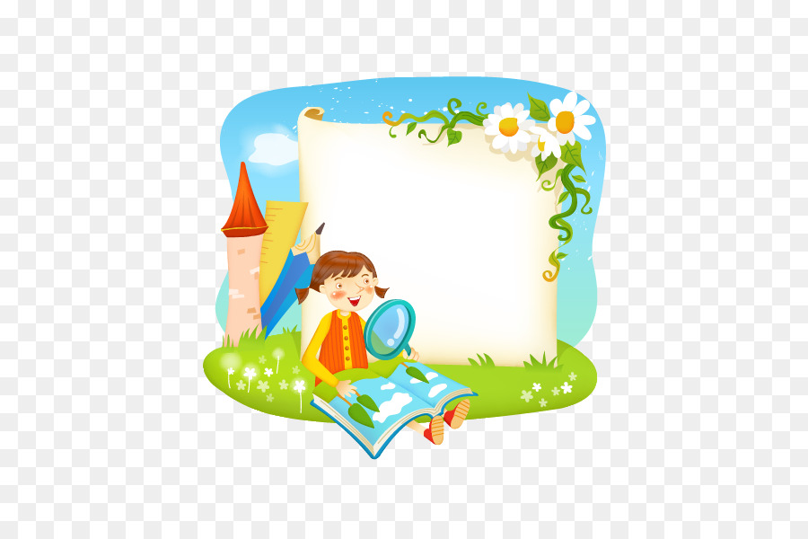 Borders and Frames Reading Book - Vector cartoon images and ...