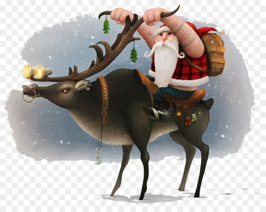 santa claus reindeer christmas motorcycle wallpaper santa claus riding deer horn material snow - Biker Christmas