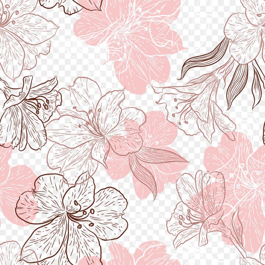 Flor De La Hoja De Color Rosa Pétalo - Pintada a mano de flores de ...