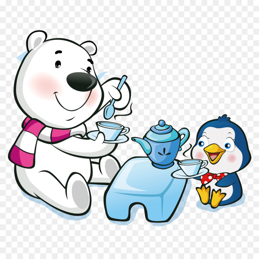 polar bear cartoon wallpaper - tea polar bears and penguins png