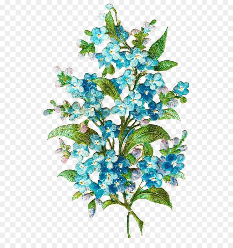 Border Flowers Blue Paper
