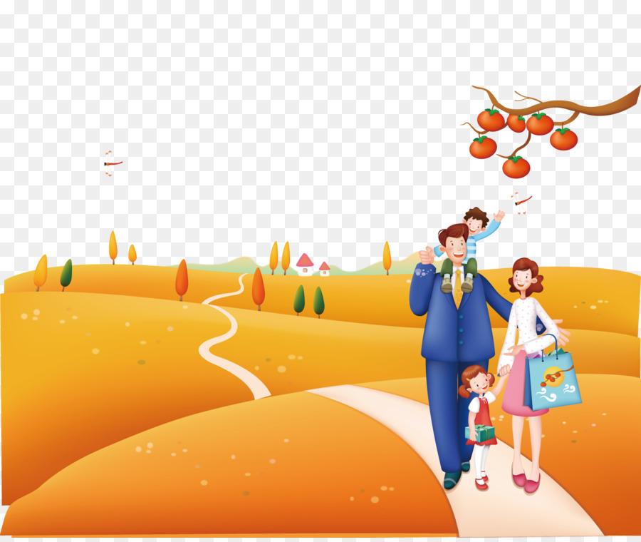 Poster Kartun Ilustrasi Berjalan Di Bidang Keluarga Unduh