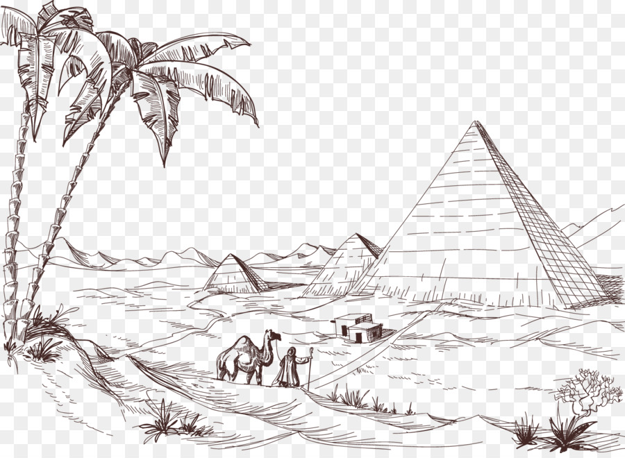 Desert Drawing Landscape Sketch Pencil Pyramid
