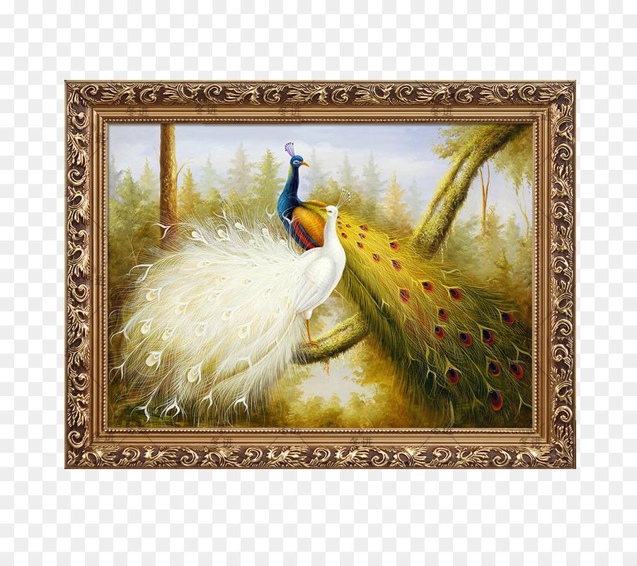 La pintura de aceite del marco de la Imagen Mural - Pavo Real De La ...