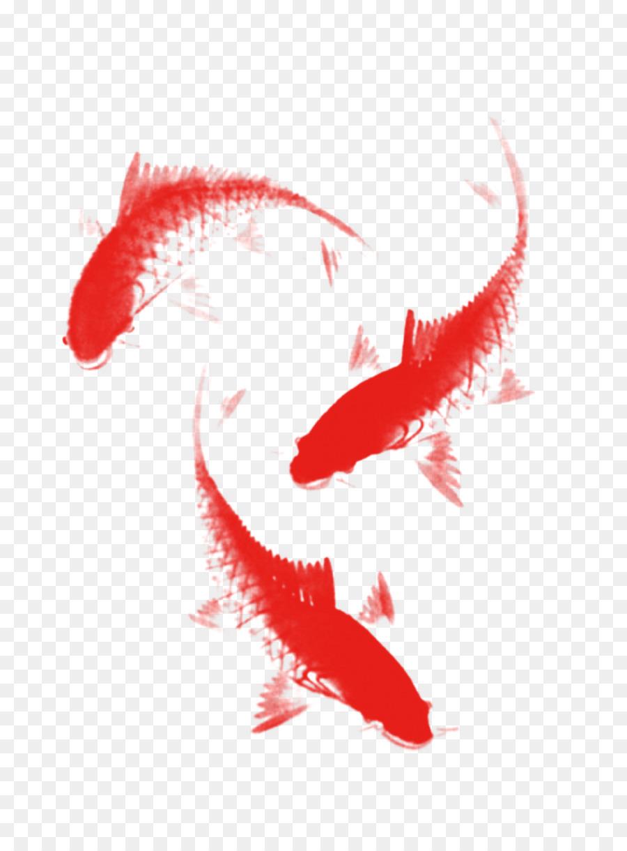 Koi Ink brush Fish - Free fish png download - 1201*1615 - Free ...