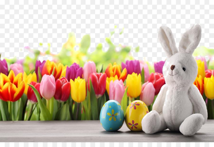 Easter Bunny Egg Tulip Wallpaper