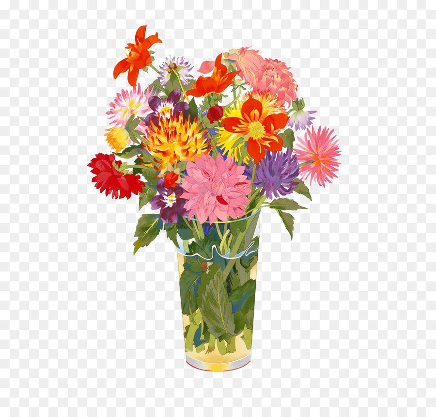 Watercolor Painting Paper Artist Cartoon Chrysanthemum Vase Png