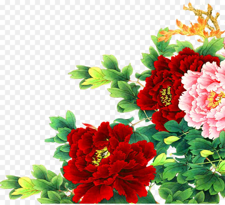 çin Gongbi Kuş Ve çiçek Boyama Moutan şakayık Yeşil Yaprakları
