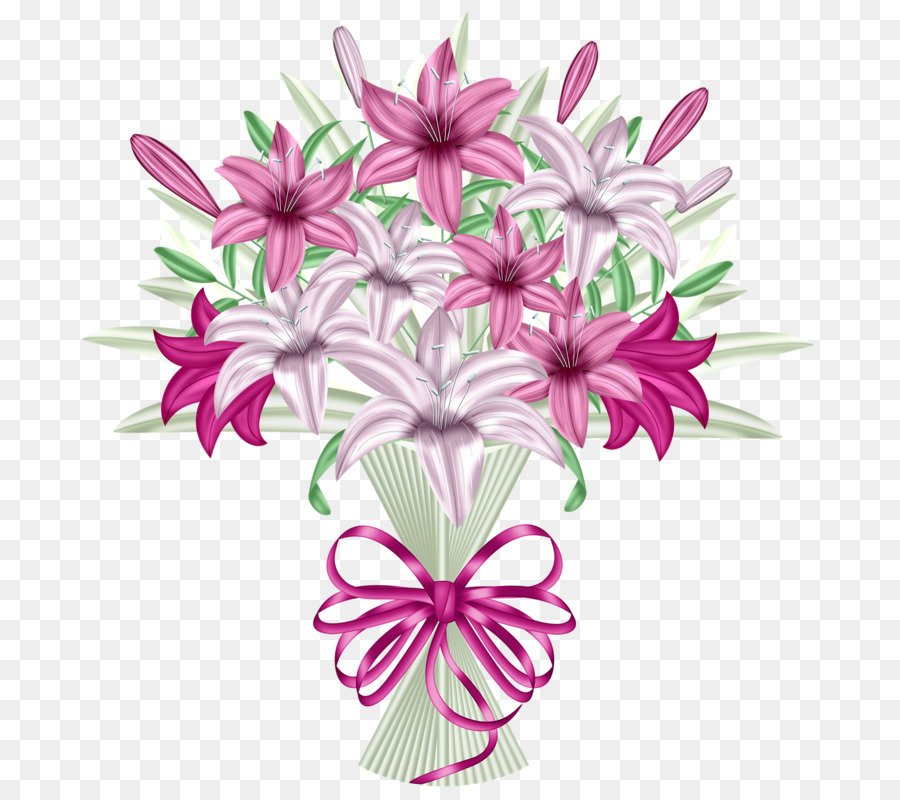 Flower bouquet Party Clip art - Cartoon Lily Bouquet png download ...