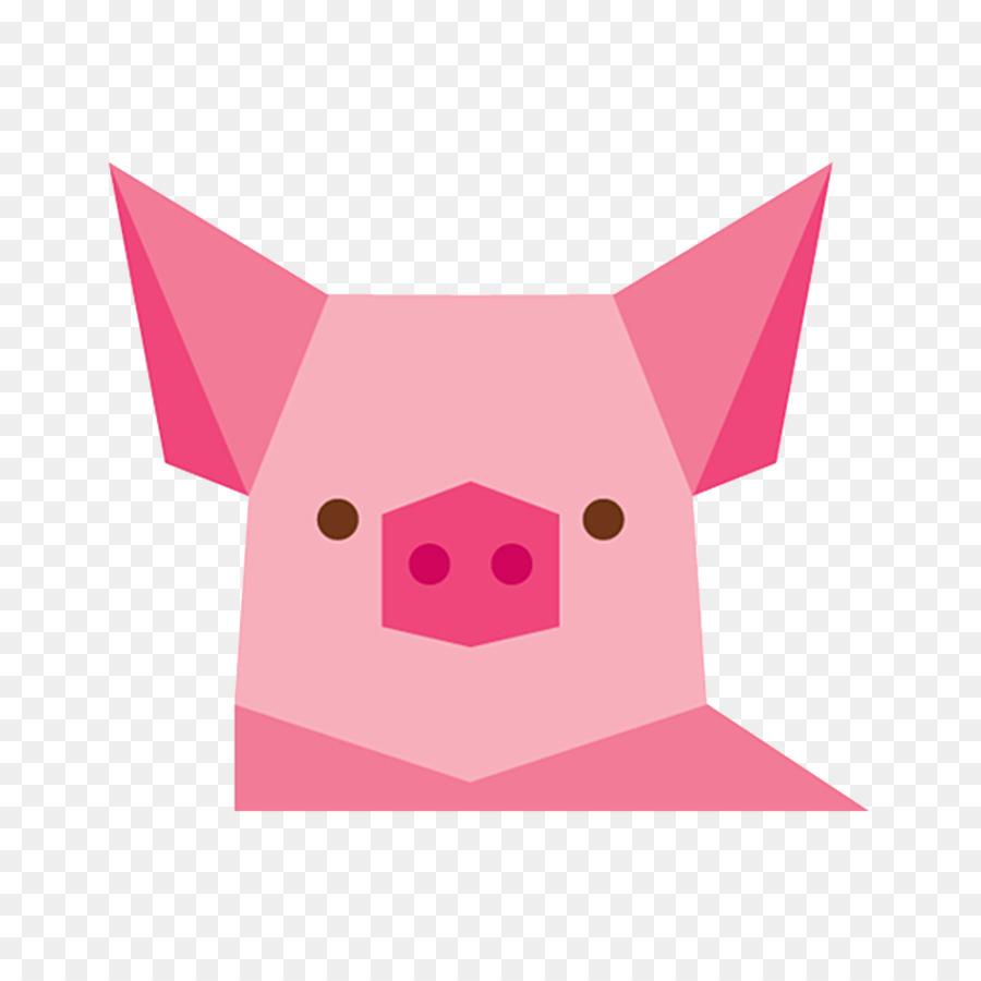 Domestic Pig Animal Geometry Pink Art Png