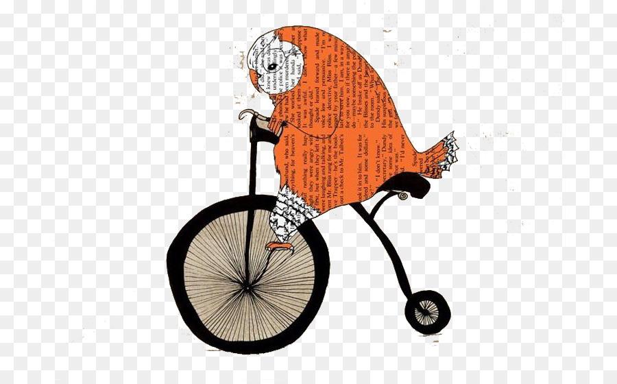 owl printmaking poster bicycle drawing orange newspaper bird bike