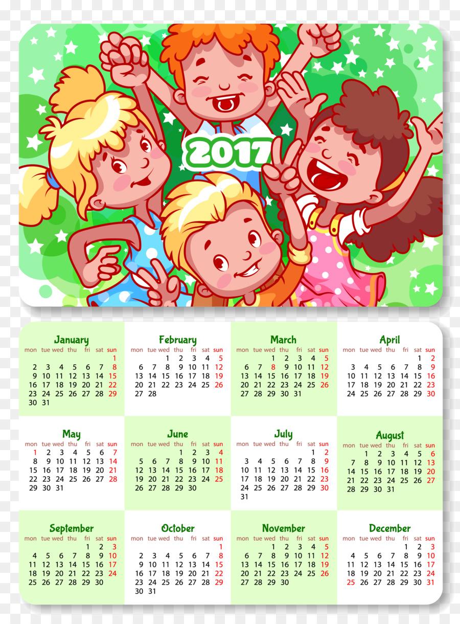 Calendario Infantil Plantilla De Ilustración - 2017 niños de la ...