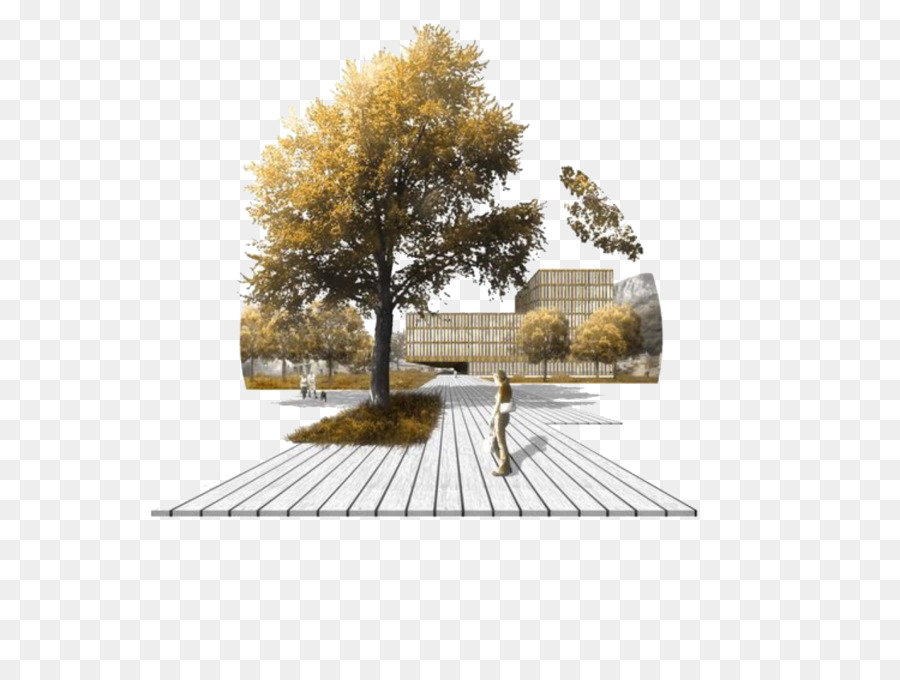Landscape Architecture Building Architectural Drawing Hand Painted