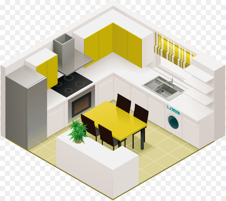Kitchen Living Room Isometric Projection Interior Design Services   Vector  Kitchen Design