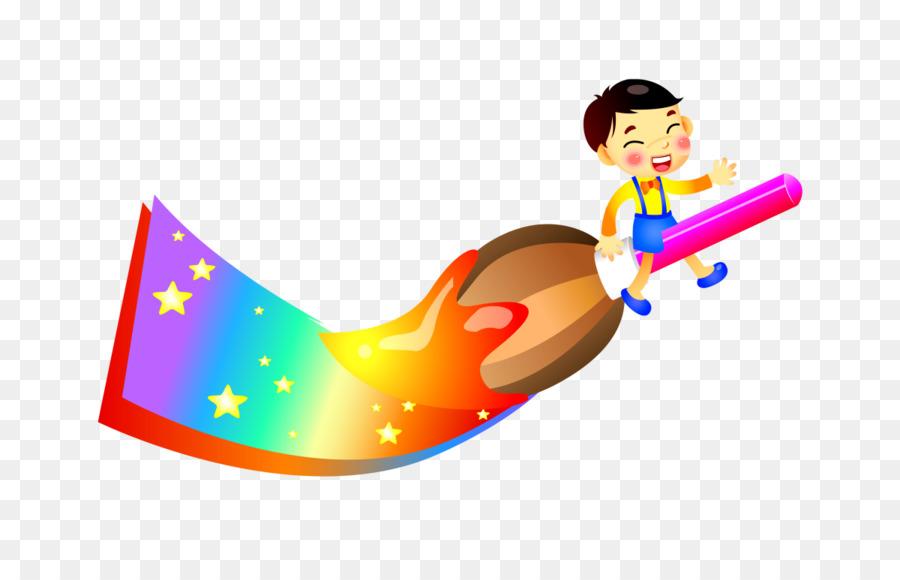 Dibujo De Dibujos Animados De Pintura Infantil - Pincel de Color de ...