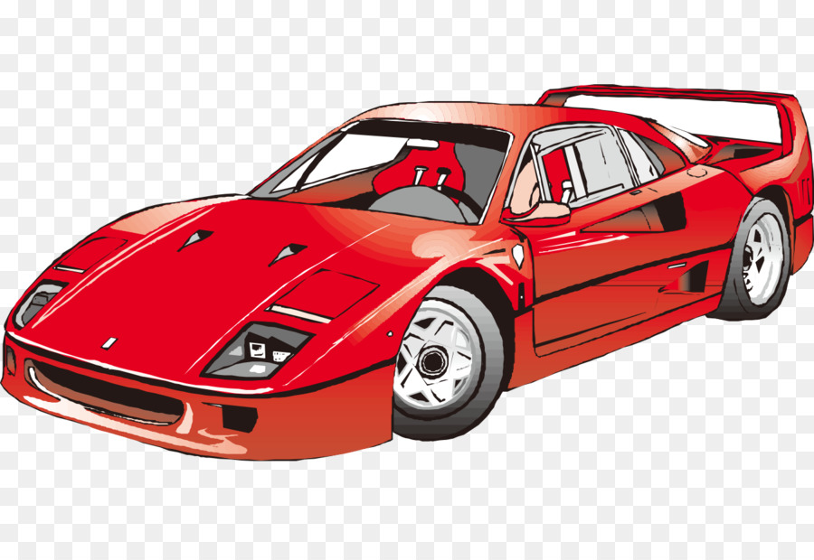 Cartoon Painted Red Sports Car Fashion Png Download 1350 908