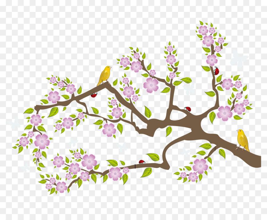 cherry blossom twig wall decal sticker - vector peach tree oriole