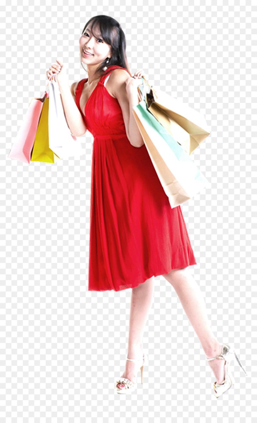 Gift Shopping Red Clip art - Beautiful red dress shopping png ...