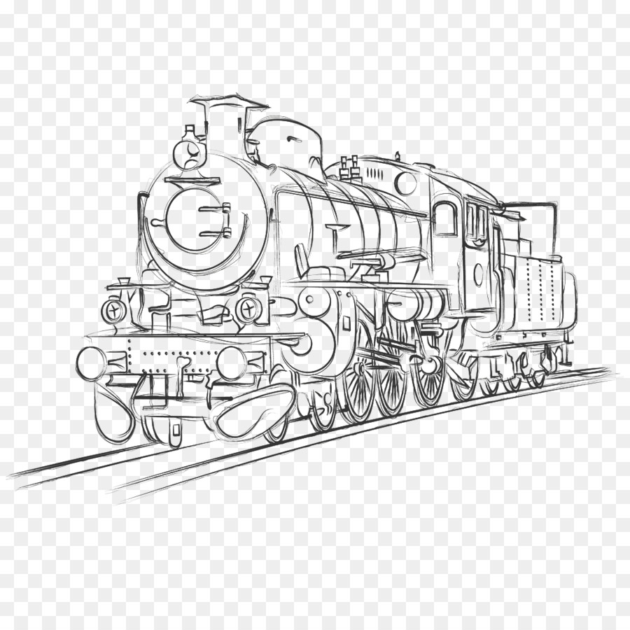 Tren de transporte Ferroviario de locomotora de Vapor de Croquis ...