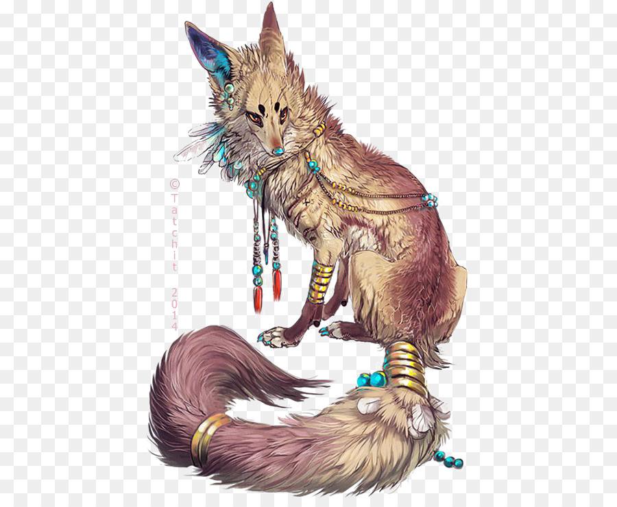 gray wolf arctic fox drawing fantasy fox png download