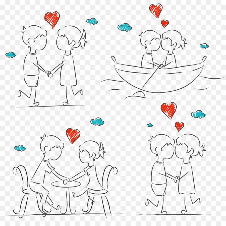 Romantic Couple Vector Sketch Png Download 1800 1800 Free