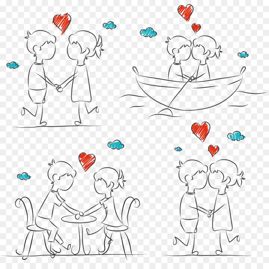 Gambar pasangan tongkat sketsa pasangan romantis vektor sketsa