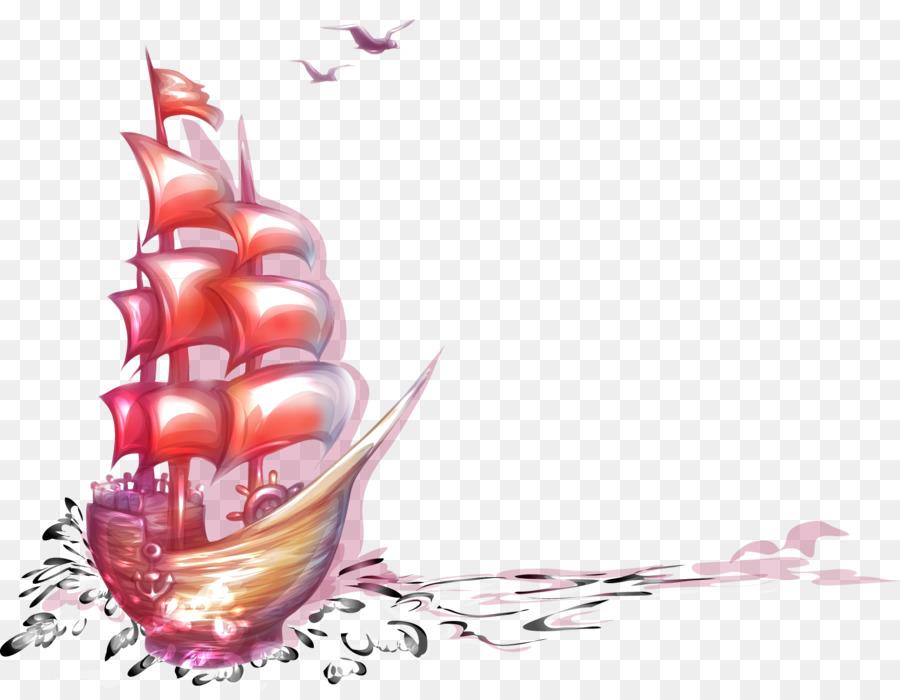 Illustration De Dessin Animé Peint à La Main Navire Matériel
