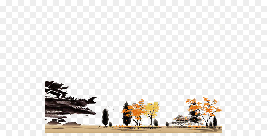 China Template Microsoft PowerPoint Ink wash painting - Autumn ...