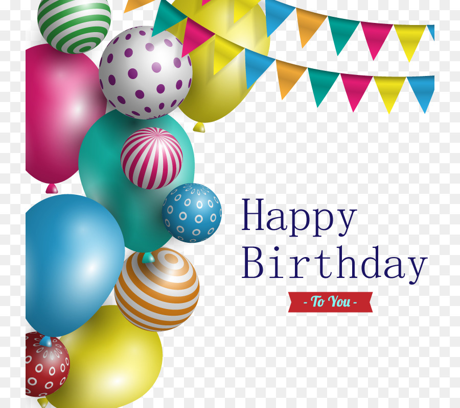 Happy Birthday to You Party Balloon - Vector birthday card png ...