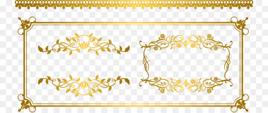 Gold Euclidean Vector Ornament Fancy Gold Border 800 378