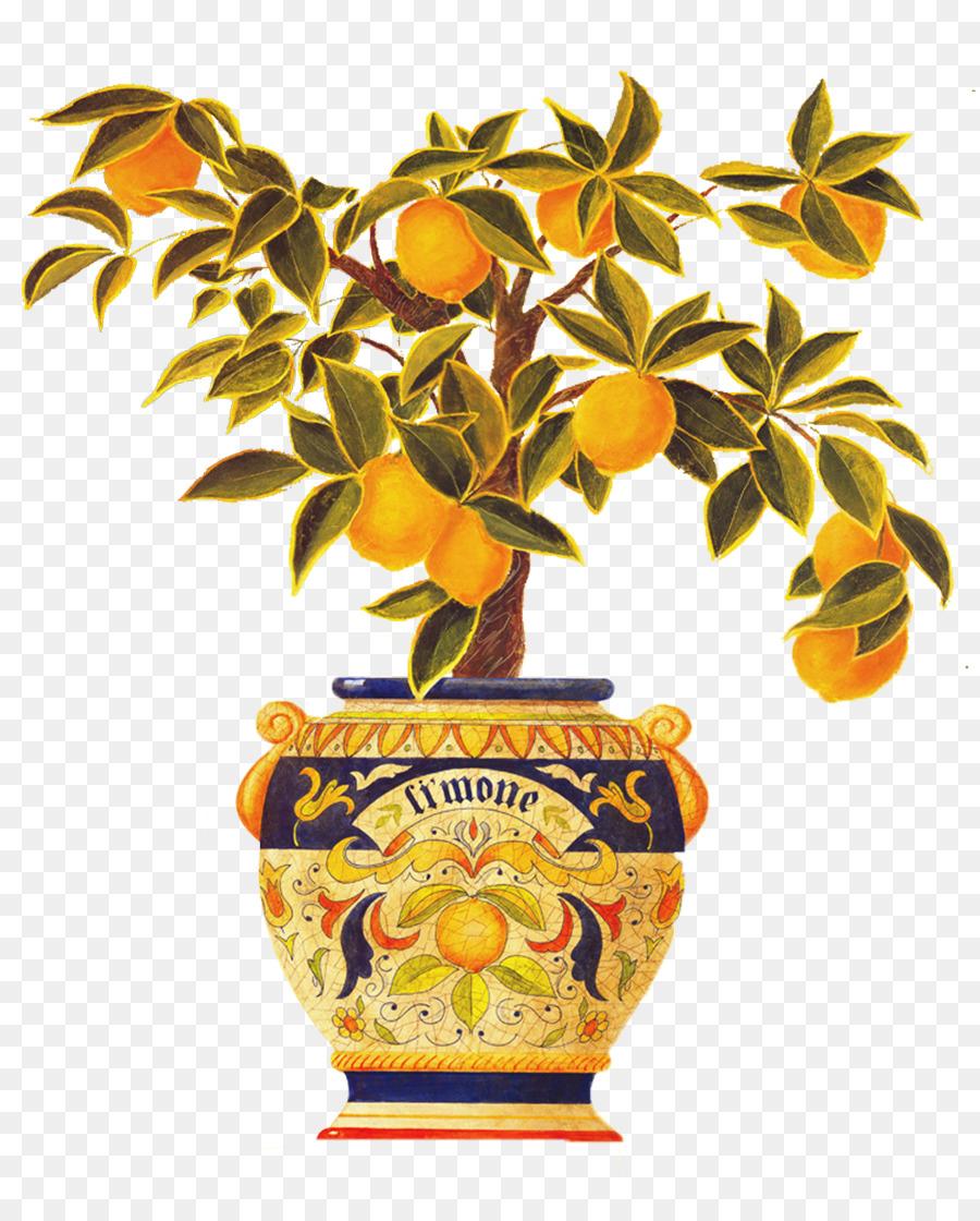Italy Tapestry Lemon Wall decal - Kumquat lemon pots Abstract png ...