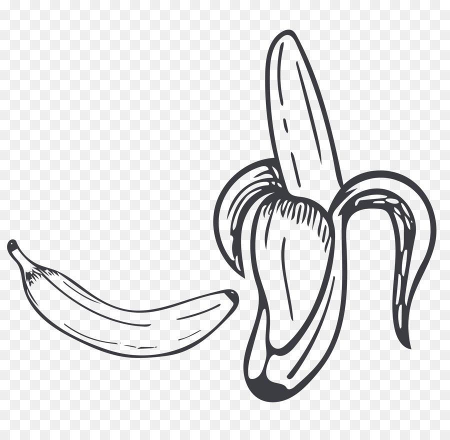 Black And White Drawing Banana Cartoon