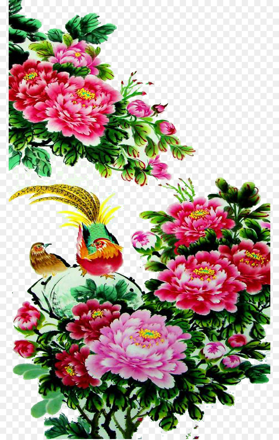 Golden Pheasant Floral Design Bird And Flower Painting Chinese