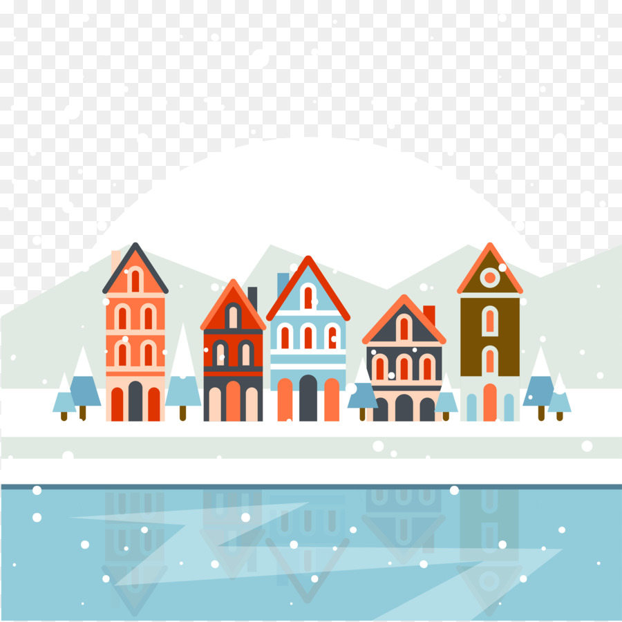 Christmas Village Poster Clip Art Winter Snow Png Download 4167