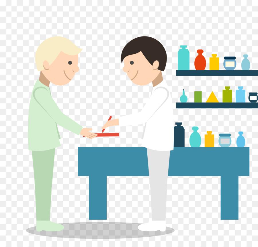pharmacist hospital pharmacy vector blue medical work in