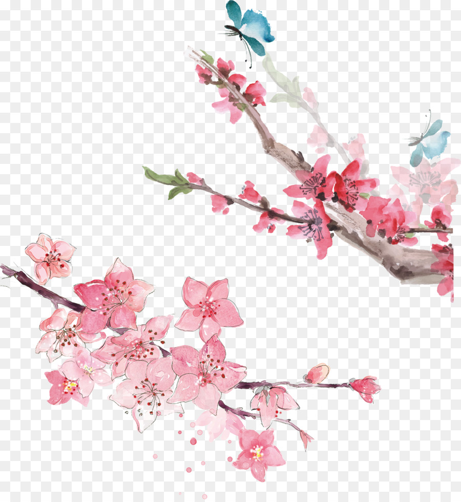 Watercolor Pink Flowers png download - 1764*1911 - Free