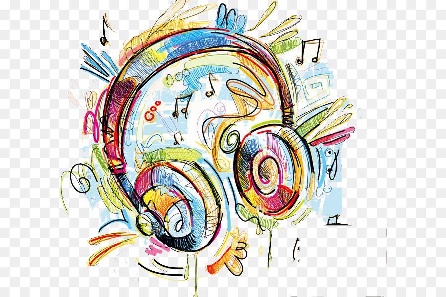 Dibujo A Color De Los Auriculares Ilustración Nota Musical Png