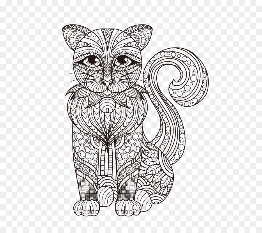 Gato Gatito Dibujo para Colorear libro - Cachorro lineal de la ...