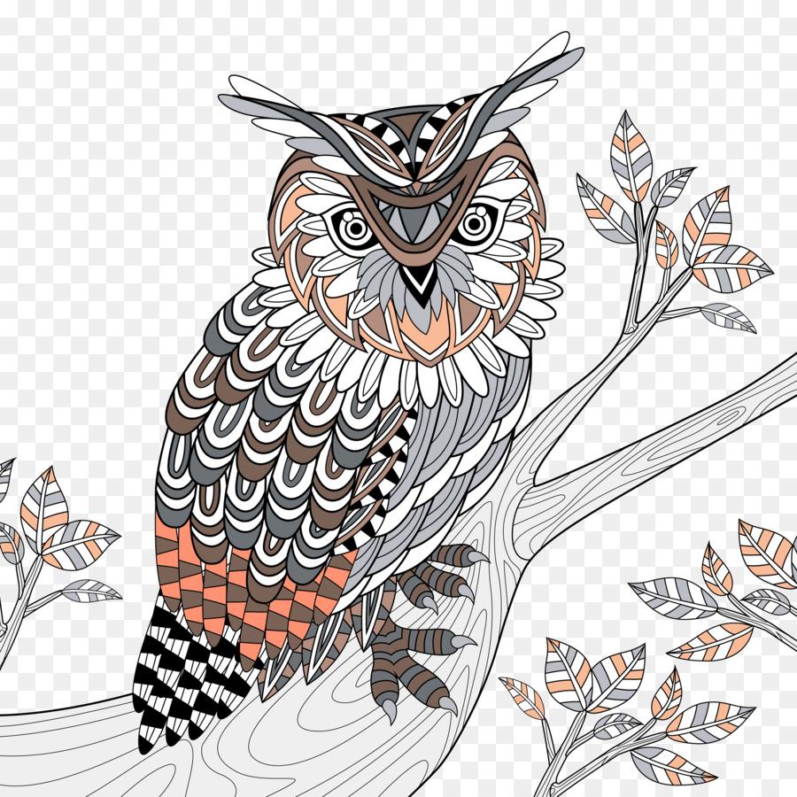 Baykuş Boyama Kitabı Royalty Free Doodle Illüstrasyon Orman