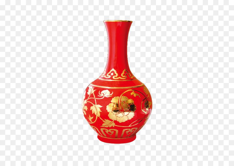 Chinese New Year Greeting Card Ceramic Red Vase Wedding Supplies