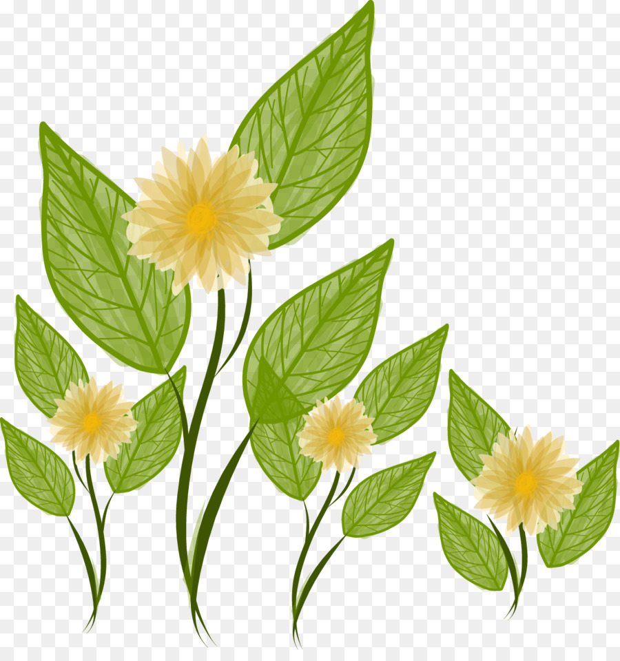 Flower Landscape Yellow Hand Painted Flowers And Green Leaves