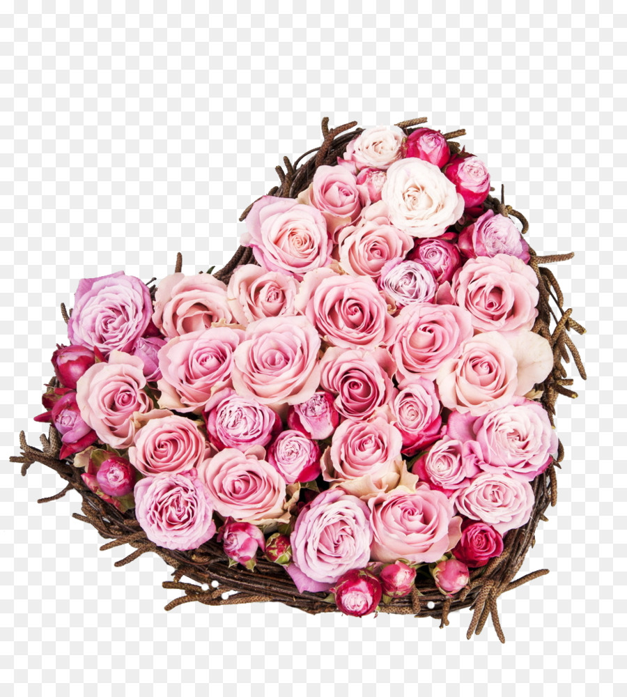 Rose Valentines Day Love Flower Heart Heart Shaped Bouquet Of Pink
